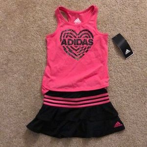 Toddler Girls Adidas Tennis Skirt and Tank